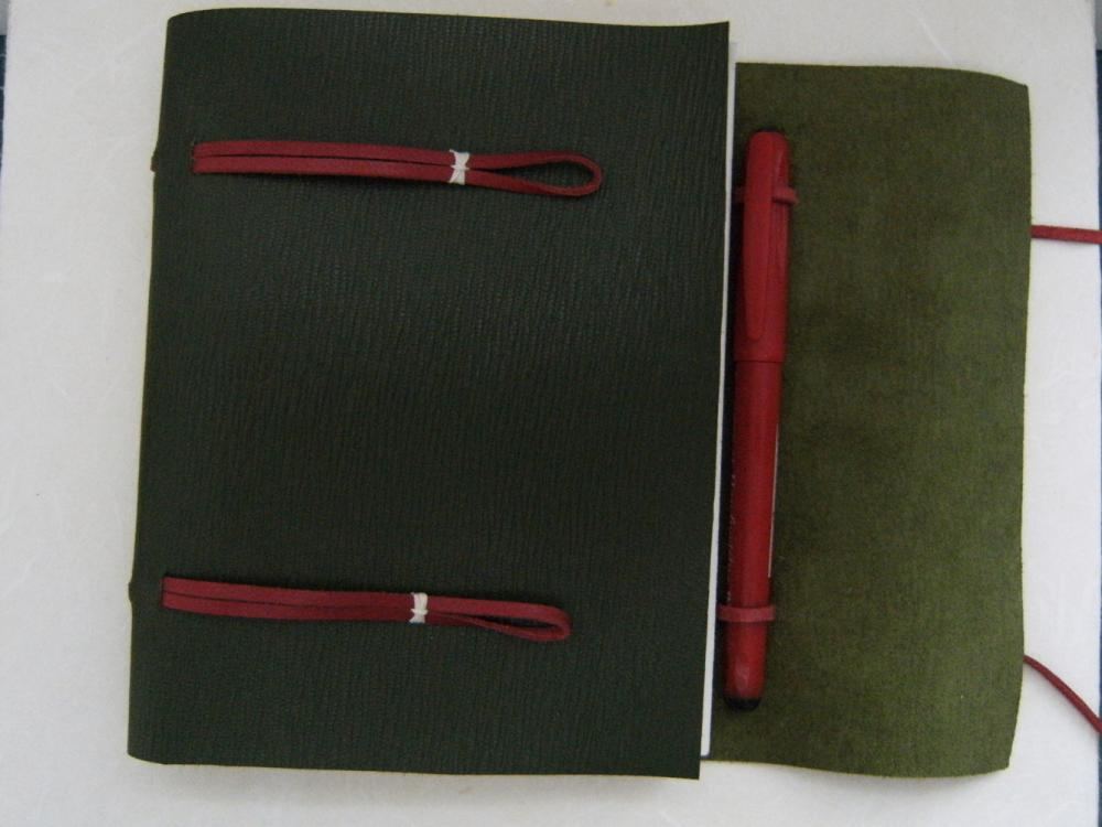 Leather Journal Sketchbook - Longstitch Binding in Green Grained Leather