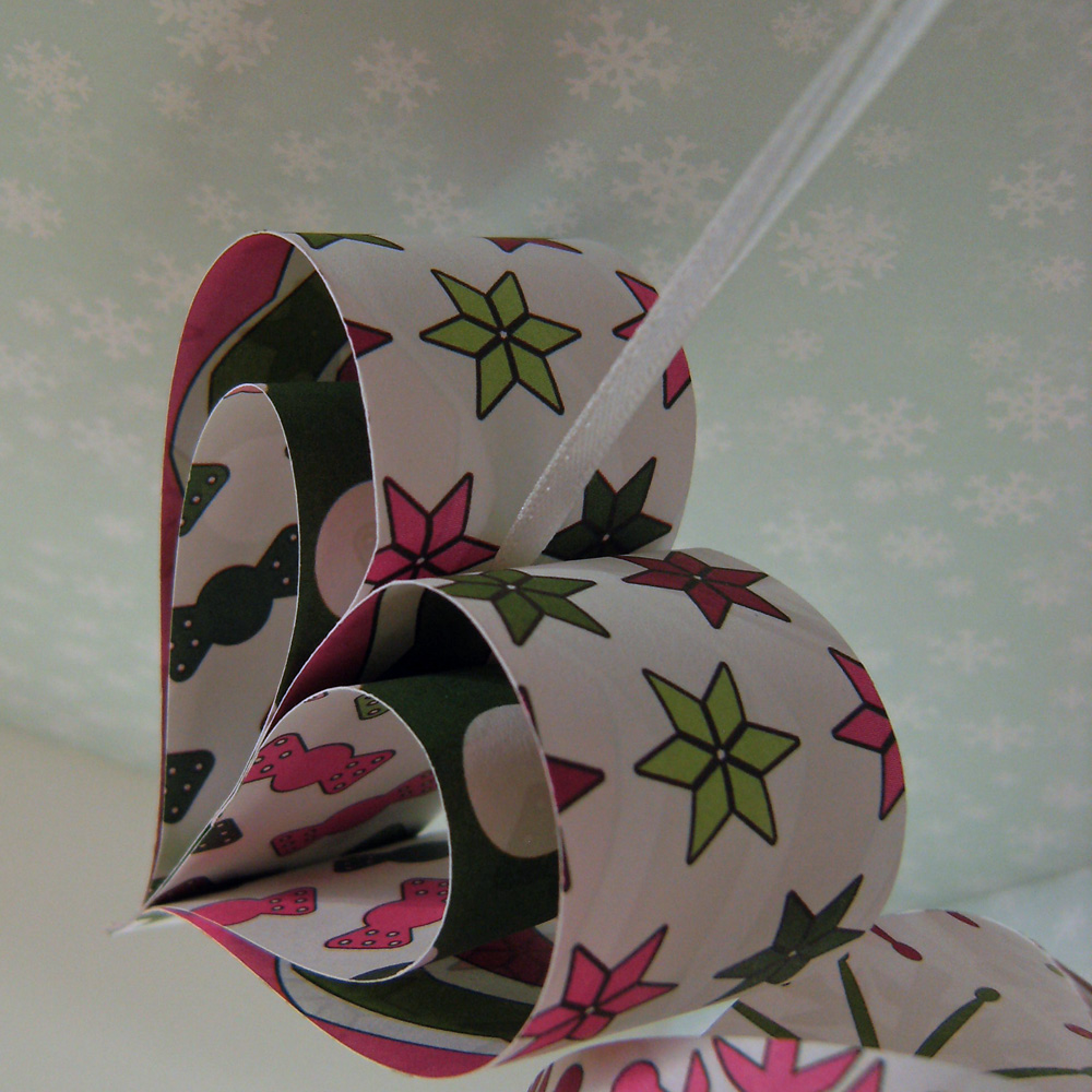 Three Hanging Paper Decorations, Pink, Green and White