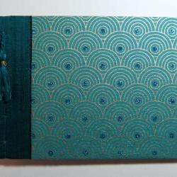 RTS Wedding Guest or Photo Album in Turquoise - Japanese Stab Stitch - 8.25 x 7.25ins - Ready to Ship