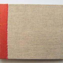 """Guest Book - Silk and Linen Burlap - in Coptic Stitch - 8"""" x 6"""" - Made to Order"""