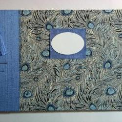 """Wedding Guest Book - """"Isis"""" Peacock Feathers - Liberty Tana Lawn - Ready to Ship"""