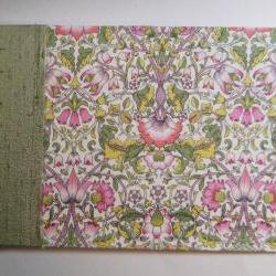 """Wedding Guest Book - Liberty Print """"Lodden"""" Green & Pink Floral - 8"""" x 5.5"""" - Ready to Ship"""
