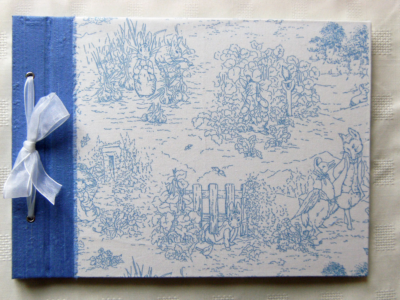Baby Photo Album Large Blue Silk Beatrix Potter Fabric Album